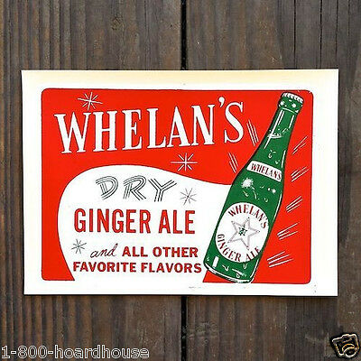Vintage WHELAN'S GINGER ALE SODA Grocery Store Window Decal 1940s NOS Unused