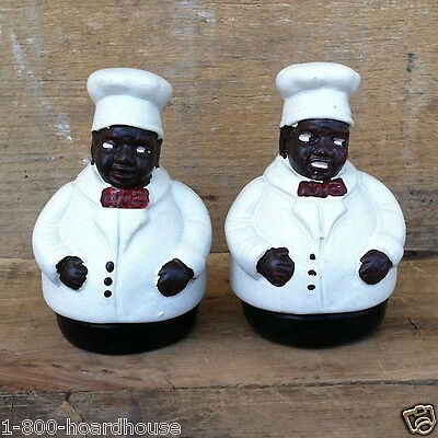 New Chefs UNCLE MOSES Salt Pepper Shaker CERAMIC SHAKERS Black Americana NIB