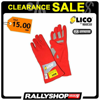 Lico By Sparco Base FIA Gloves Red, size 8 S Track Day Rally Race CLEARANCE SALE