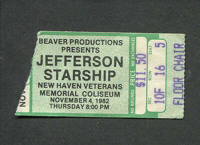 Original 1982 Jefferson Starship Concert Ticket Stub New Haven Winds Of Change