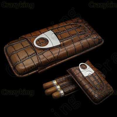 COHIBA Brown Leather Holder 3 Tube Travel Cigar Case Humidor With Cutter