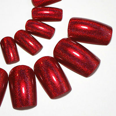 Full False Nails - Red Holographic Press On Nails - Hand Painted Christmas Nails