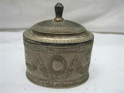 Vintage Ornate Victorian Sewing Pin Cushion Box Felt Lined Trinket Lid Pewter
