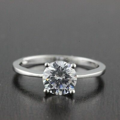 Womens Solid 925 Sterling Silver CZ Solitaire 6mm Engagement Ring