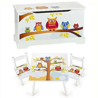 Owls Wooden Bedroom Furniture – Toy Boxes And Kids Table And Chairs