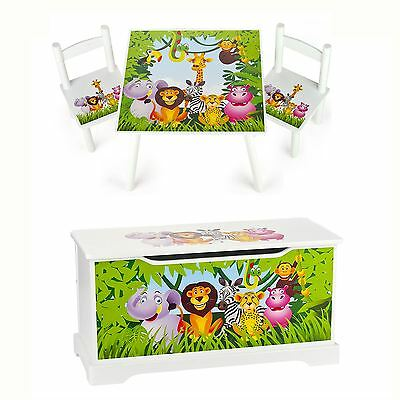 Jungle Animals Wooden Bedroom Furniture – Toy Boxes And Kids Table And Chairs