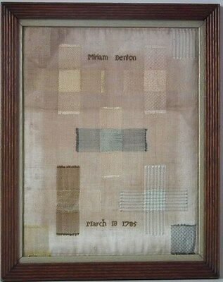 1785 Darning Sampler by Miriam Denton