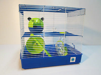 Penthouse Large Blue & Lime Hamster Cage Small Animal Cage 2 Storey 30 x 40 x 27