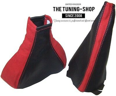 For Vauxhall Opel Corsa C 00-06 Gear Handbrake Gaiter Black Leather Red Suede