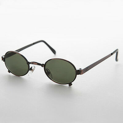 Small Oval Steampunk Spectacle Vintage Sunglass Copper/ Green Lens NOS - Edison