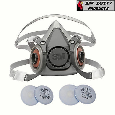3M 6000 Series Half Mask Respirator W/ 2 Sets Of 2071 Dust Filters (Sm, M, Lg)