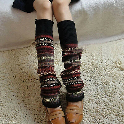 NEW Knit Aztec Tribal Boho Boots Cover Leg Warmers Knee High Long Socks Stocking