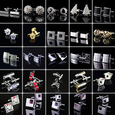 Business Men Cufflinks Stainless Steel High Quality Cuff Links Metal Crystal