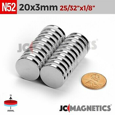 5 10 25 50pc 20mm x 3mm 13/16x1/8 in N52 Strong Disc Rare Earth Neodymium Magnet