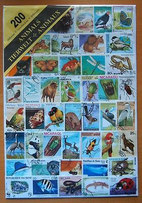 200 Different Thematic Used Mixed Stamps - Animals