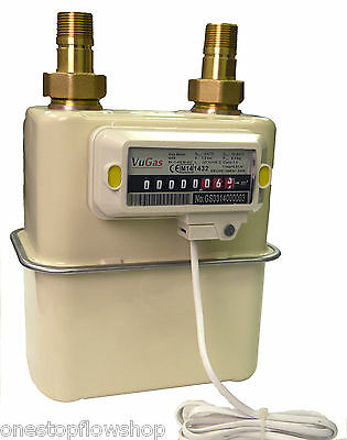 G4 Diaphragm gas meter with unions, optional pulse output, household/domestic
