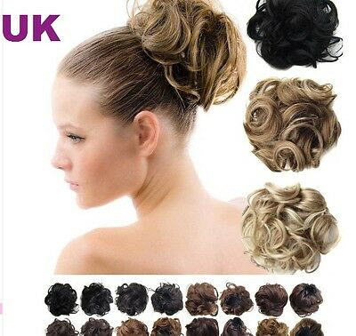 Large Drawstring Hair Bun Cover Hairpiece Clip in Extensions 20s Colours