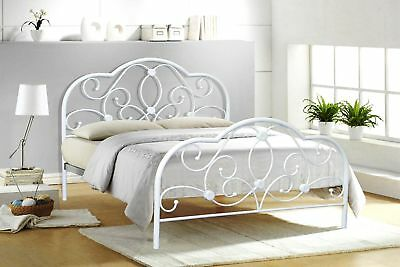 Alexis Double 4FT6, 4FT Small Double White Metal Bed Frame Bedstead 2019 Design
