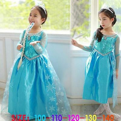 FROZEN Princess Anna Elsa Queen Girls Cosplay Costume Party Formal Dress Elsa #4