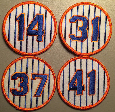 New York Mets Retired Jersey Number 4 Patch Set - Seaver Hodges Stengel Piazza