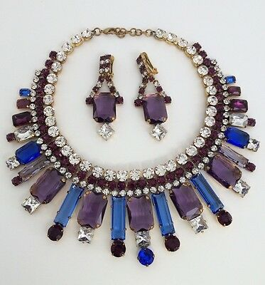 Lilien Czech Crystal Shine Necklace Set Combination Of Large Baguette Stones