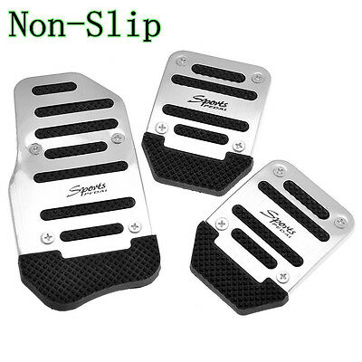 Silver Sport Racing Manual Autos Accelerator Brake Pedal Pad Non Slip For Toyota