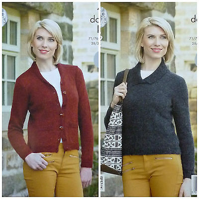 KNITTING PATTERN Ladies Easy Knit Long Sleeve Cardigan & Jumper DK KingCole 4262