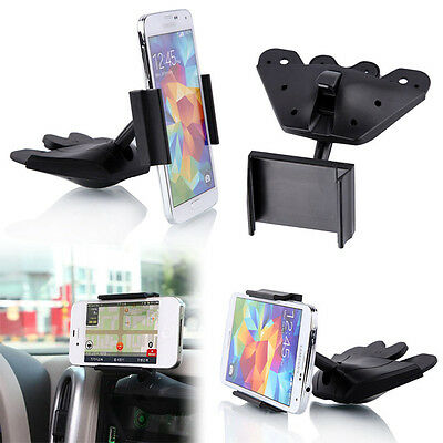 Universal CD Player Slot Phone Car Auto Mount Holder Cradle Black