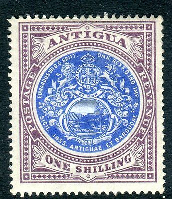 ANTIGUA-1903-7  1/- Blue & Dull Purple.  A lightly mounted mint example Sg 37