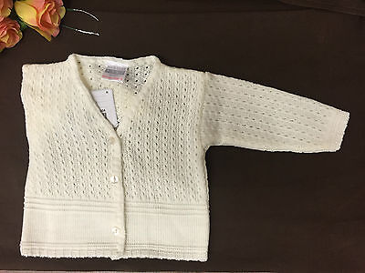 Baby Flower Girl Wedding Light Ivory Cable Knitted V Neck Cardigan NB-6 Mo's