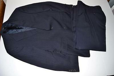 Hart Schaffner Marx Hsm Navy Blue Pinstriped 2 Button Blazer Suit Mens Size 38R