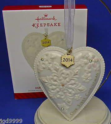 Hallmark Ornament Our First Christmas Together 2014 Porcelain Heart Rhinestones