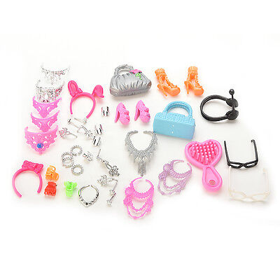 40pcs/Set Jewelry Necklace Earring Comb Shoes Crown Accessory For Barbie Dolls