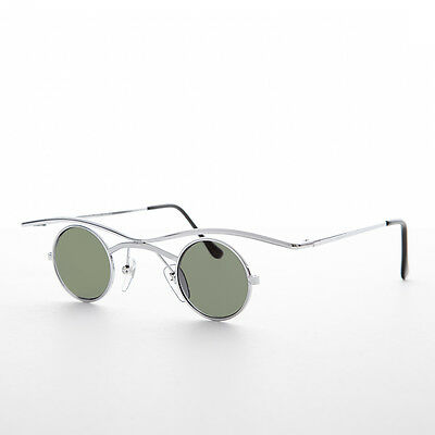 Small Round Gothic Victorian Steampunk Sunglasses Silver/Green Lens -Emmett
