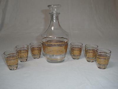 Retro Vintage Art Glass Liqueur Decanter And 6 Glasses Gold Trim France