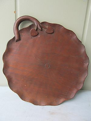 """Antique hand carver Scalloped edge 10"""" wood Fruit Tray"""
