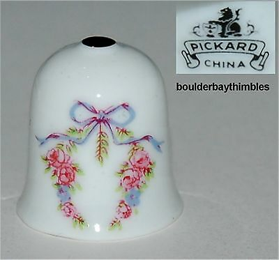 PICKARD CHINA Thimble - FLORAL SWAG tied with FLORAL BOW - NEW USA