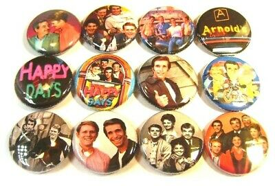 "12 HAPPY DAYS Retro TV Show FONZIE -ONE Inch Buttons 1"" Badges Hot Rod Cars Fonz"