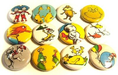 "12 DR SEUSS Cat in Hat ONE Inch Buttons 1"" Badges Set Red Blue Fish Thing Grinch"