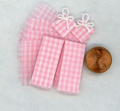 Miniature Dollhouse 8 Pc Dish Towel Set / Pink White Gingham