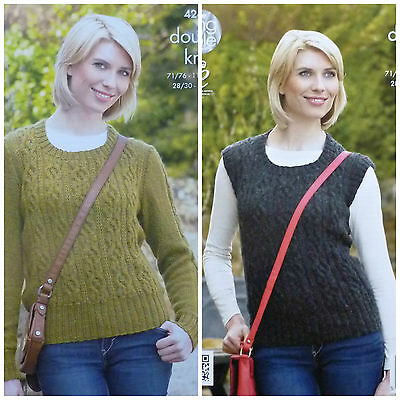KNITTING PATTERN Ladies Long Sleeve Round Neck Cable Jumper DK King Cole 4264