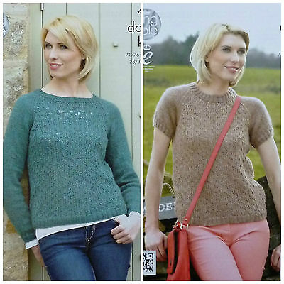 KNITTING PATTERN Ladies Long/Short Sleeve RoundNeck Lacy Jumper DK KingCole 4269