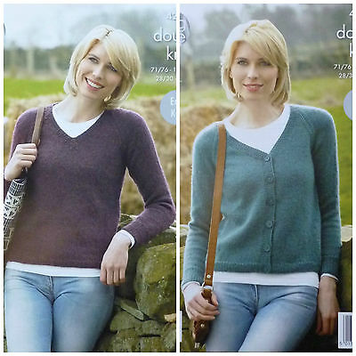 KNITTING PATTERN Ladies EASY KNIT V-Neck Jumper & Cardigan DK King Cole 4268