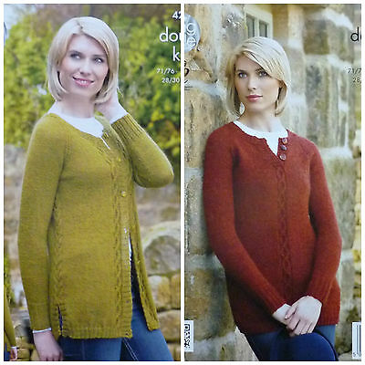 KNITTING PATTERN Ladies Long Sleeve Round Neck Long Jumper & Cardigan DK KC 4267