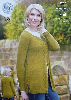 KNITTING PATTERN Ladies Long Sleeve Round Neck Long Cable Cardigan DK KC 4267