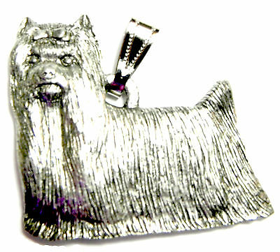 Yorkie (Show Cut) Pendant Dog Harris Fine Pewter Made in USA jewelry