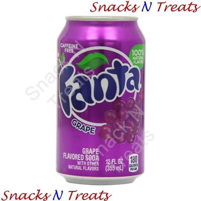 Fanta Grape Flavour Soft Drink USA 12 X 355ml Cans - Bulk Party Pack