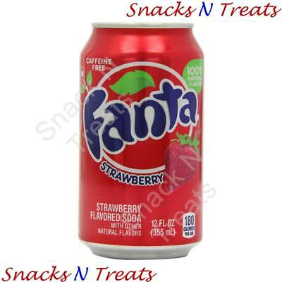 Fanta Strawberry Flavour Soft Drink USA 12 X 355ml Cans - Bulk Party Pack