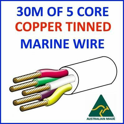 30M OF 5 CORE .5mm2 WIRE MARINE TINNED COPPER TRAILER CABLE BOAT 12V TWIN METRE