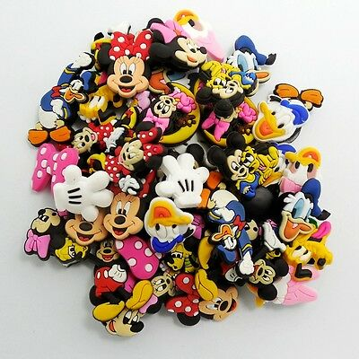 50pcs Mickey Minnie Mouse Pluto Dunald Duck Shoe Charms for Silicone Bands